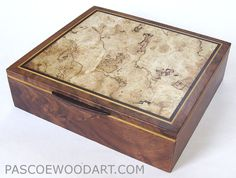 Decorative large keepsake box - Handmade wood box made of walnut veneer boxy with spalted maple burl top, Ceylon satinwood and ebony accents