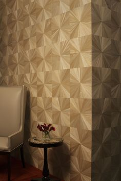 Ajiro sunburst wall covering is made from micro-thin wood from the paulownia tree (a rapidly growing tree that is a weed or pest tree in the US) on a paper backing, Ajiro is so flexible it can wrap columns and even turn corners.