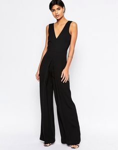 37c8796000 ASOS COLLECTION ASOS V Neck Jumpsuit in Wide Leg with Pleat Asos