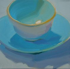 cup saucer painting, blue, bold brushstrokes, demo still life paintings