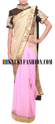 Get this beautiful saree here: http://www.kalkifashion.com/half-and-half-saree-in-beige-and-pink-featuring-with-sequence-border-only-on-kalki.html  Free shipping worldwide. #50ShadesOfGold