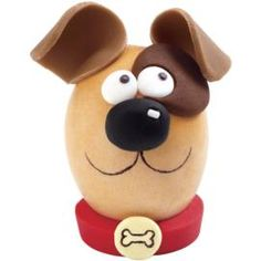 Perky Pup Easter Egg. Here's a pooch that's welcome at your Easter table! They'll beg for this hard-cooked egg, with his floppy fondant ears, cute eye patch, colorful collar and personalized dog tag.
