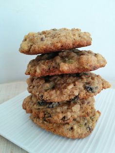 Soft and chewy chocolate chip oatmeal cookies. They're a perfect mix between healthy and treat.
