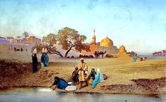 A village along the Nile near Cairo By Charles-Théodore Frère - French,1814-1888 Oil on canva