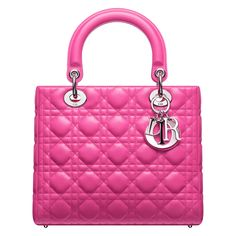 LADY DIOR - Multi-coloured pink woven raffia leather 'Lady Dior' bag