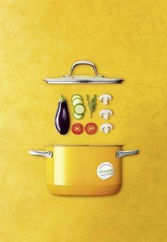 Silit Passion Yellow - Zestaw 4 garnków. Passion Yellow marki Silit to kolekcja naczyń kuchennych w głębokim, żółtym kolorze.   Garnki zostały wykonane z Silarganu® - niezawierającego niklu, innowacyjnego materiału opracowanego przez markę Silit.   Naczynia nagrzewają się szybko i długo utrzymują ciepło.  Uchwyty wykonano z wysokiej jakości stali nierdzewnej 18/10. Pokrywy z hartowanego szkła posiadają stalowe ranty. nowoczesna kuchnia, żółty garnek Deconstructed Food, Veggie Diet, Cookbook Design, Food Banner, Cooking Photography, Food Patterns, Cuisines Design, Food Design, Food Preparation
