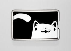 Buckle kitty | Wechselwild Belt with interchangeable designs #belt #buckle #leatherbelt #guertel #guertelschnalle #cat #katze #kitty #black #white #illustration #cute #pet #funny #smile