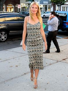 Gwyneth Paltrow rocks a printed frock at the Hector and the Search for Happiness screening in the Hamptons