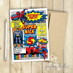 Superhero Invitation Batman Invitation Superman Invitation Spiderman Invitation Birthday Party Comic Book Customized PRINTABLE by LaughingWillowDesign on Etsy https://www.etsy.com/listing/248498126/superhero-invitation-batman-invitation