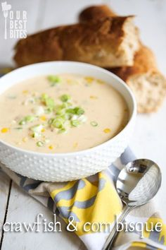 Crawfish and Corn Bisque from Our Best Bites---you can make it in less than 30 minutes! If crawfish isn't your thing (or you can't find it), you can use lobster, crab, or shrimp.