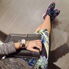 CHANEL Boy Chevron charcoal gray bag | NIKE WMNS International kicks | CHARRIOL bracelet | PHILIP STEIN watch | instagram: @quennandher | https://instagram.com/quennandher | Sneakers Street Style....