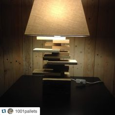 I love this lamp! Yet another avenue for my huge pile of scraps!  #Repost @1001pallets with @repostapp.  Lamp for a Side Table / Lampe De Chevet  #Diy #Lamp #Pallet de craftcor_furniture