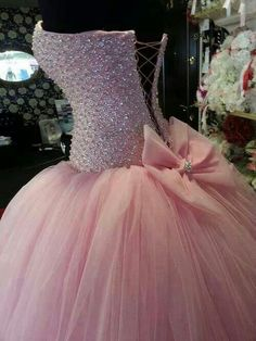 Pink sequin bodice, pink tulle floor length