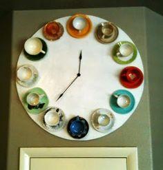 tea cup clock - diy very cool Decor Crafts, Diy Crafts, Coffee Theme, Diy Clock, Clock Craft, Clock Wall, My New Room, Coffee Shop, Tea Party