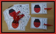 "Ladybird peg game (FREE printable) from Rachel ("",)"