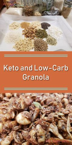 Best Keto and Low-Carb Granola Recipe. Sugarfree and gluten-free. Keto Paleo and Low-carb. Best Keto and Low-Carb Granola Recipe. Sugarfree and gluten-free. Keto Paleo and Low-carb. Keto Foods, Keto Snacks, Keto Friendly Desserts, Low Carb Desserts, Low Carb Recipes, Vegetarian Recipes, Low Carb Granola, Vegan Keto, Paleo