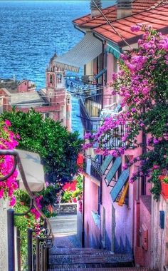 Colourful street in Tellaro, Liguria, Italy 💜🍝 💜 Bella Italia 💜🍝 💜 Places Around The World, Oh The Places You'll Go, Places To Travel, Places To Visit, Around The Worlds, Travel Destinations, Travel Tips, Travel Hacks, Travel Photos