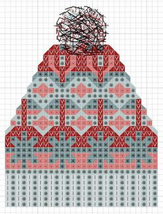 hancock's house of happy: Free Cross Stitch Chart: Fair Isle Knit Toque - knitting Knitted Mittens Pattern, Fair Isle Knitting Patterns, Knitting Charts, Knit Mittens, Loom Knitting, Knitting Stitches, Knitted Hats, Fair Isle Chart, Bonnet Crochet