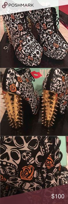 Red Kiss Skull Booties Brand Red Kiss. Gold. Flower is actually orange. Leather like. Not true to size. Largest size I'm guessing is 8-1/2. Fit me perfect. Couldn't be cooler. Says 10. Red Kiss Shoes Ankle Boots & Booties