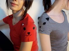 Set of TWO of my Sleeve Animal tees kitten by ThePetiteChouette