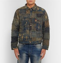 <a href='http://www.mrporter.com/mens/Designers/Kapital'>KAPITAL</a> is known for its use of 'heritage production techniques inspired by vintage American work wear' - this 'Boro' jacket is a deft example. Crafted in Japan from patchwork denim that is stitched and distressed to create a well-worn look, it's backed with striped knitted lining for added warmth. This tactile piece is perfect to layer over simple tees and slim-fitting chinos.