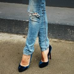 { Skinny jeans + velvet heels }