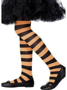 Lasten raidalliset sukkahousut. Musta-oranssiraidalliset sukkahousut Halloweeniin tai muuhun arkipukeutumiseen.