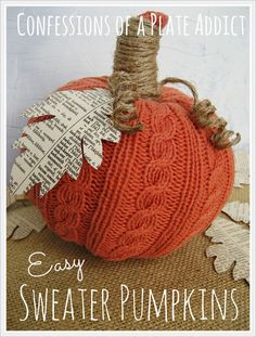 CONFESSIONS OF A PLATE ADDICT: Easy Sweater Pumpkins