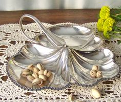 Vintage Nut Dish Candy Dish Walker and Hall Sheffield England Silver Plate Serving Dish Leaf Pattern Heart Pendant Necklace, Cross Pendant, Sheffield England, Cool Necklaces, Ceramic Plates, Candy Dishes, Gold Bands, Serving Dishes, Vintage Patterns