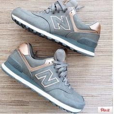 New Balance Shoes - IN SEARCH OF Rose Gold and Gunmetal Sneakers 574