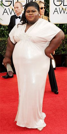 Gabourey Sidibe at the Golden Globes. This is a great dress, cut well and form fitting in the right places. Great in off white, but would be gorgeous in a color.