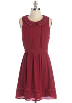 Stanzas and Syntax Dress - Red, Solid, Peter Pan Collar, Trim, Casual, A-line, Sleeveless, Fall, Woven, Good, Collared, Mid-length, Embroidery