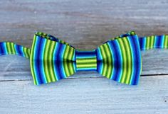 Boys Bow Tie - rich green and blue striped woven cotton tie, bowtie for infant, toddler, child, preteen, pre-tied and adjustable