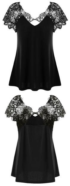 $11.39 Plus Size Cutwork Lace Trim T-Shirt - Black