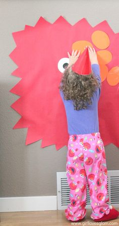 Sesame Street Elmo Birthday Party cute idea...except a circle not square head