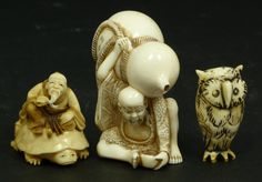 Lot of three Japanese carved ivory Netsuke figures including an owl, a wise man on a turtle, and a seated man carrying a large Hulu gourd ...