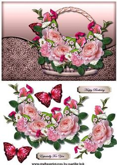 Basket With Roses 2 on Craftsuprint designed by Marijke Kok - Gorgeous design for any occasion.With a basket and pretty roses and butterflies. - Now available for download!