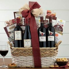 Wine Gift Baskets - Red Wine Gift Basket Themed Gift Baskets, Wine Gift Baskets, Red Blend Wine, Red Wine, Honey Crunch, Salt Crackers, Gourmet Gifts, Sympathy Gifts, Wine Gifts