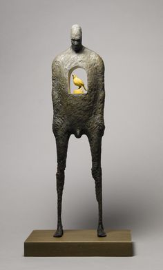 John Morris - The Song Inside (timber, paint), sold for $1950, 20 x 12 x 43,5 cm.