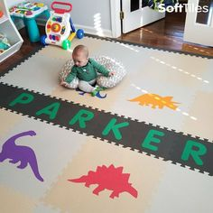 A fun personalized playroom floor using SoftTiles Dinosaurs. This play mat is nice mix of colors and neutral colors (light gray and tan). Playroom Flooring, Playroom Decor, Nursery Decor, Playroom Ideas, Neutral Colors, Light Colors, Dark Grey Background, Cool Baby Stuff, Dinosaurs