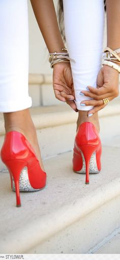 Miu Miu Patent Pointed Glitter Pumps.  ohmysoles is loving this!
