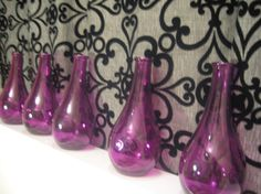 Purple Glass Bottles Vases Colorful Wedding by Embellish1122, $5.00