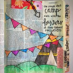The people shall camp each with the banners of their fathers' houses . #leviticus #bible #bibleart #biblejournaling #illustratedfaith #biblejournalingcommunity by craftinginthequeencity