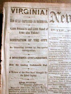 1865 Civil War newspaper RICHMOND & PETERSBURG Virginia CAPTURED by UNION FORCES