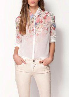 Charming Turndown Collar Long Sleeve Floral Printed Blouse