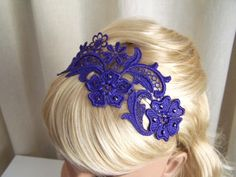Purple lace headband with crystals
