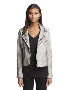54% OFF Bagatelle Women's Wired Stud Washed Leather Jacket