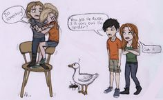 Jace and Annabeth vs The Spider and The Duck by Deesney.deviantart.com on @deviantART