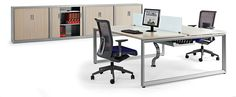 Vital Plus ST/60 twin desk with sliding top with electrification and flaps for switches