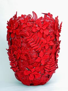 Wired Nature Red Vessel designed by Marisa Fick-Jordaan and created out of industrial telephone wire.